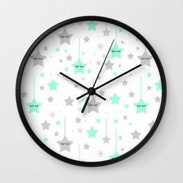Mint Green Twinkle Little Sleepy Stars Wall Clock