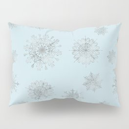 Assorted Silver Snowflakes On Light Blue Background Pillow Sham