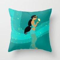 jasmine Throw Pillows featuring Jasmine by Eva Duplan Illustrations