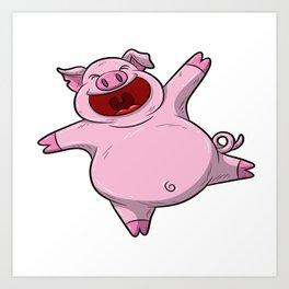 Happy Pig Celebrating A Birthday Party Swine T Shirt Gift Idea Art Print