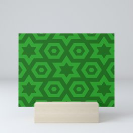 Modern Abstract Geometric Stars - Green - Matching Set 1 of 2 Mini Art Print