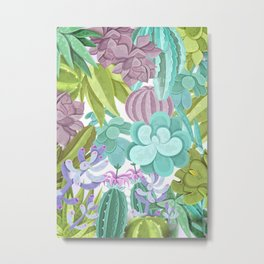 Tropical Cactus Pattern Metal Print