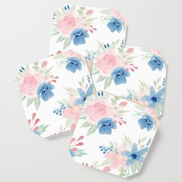 Blush Pink and Navy Watercolor Florals Coaster