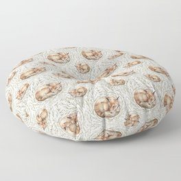 Sleeping foxes with leaves Floor Pillow