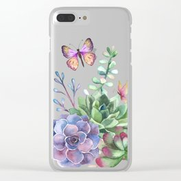 A Splendid Secret Succulent Garden With Butterfly Visitors Clear iPhone Case