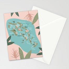 Bahamas Illustrated Map Stationery Cards