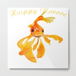 Happy Norooz Persian New Year Goldfish Isolated Metal Print
