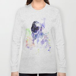Purple Pug Puppy Long Sleeve T-shirt