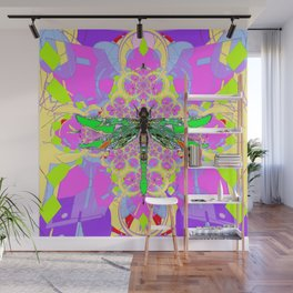 Emerald Green Dragonfly Pink Abstract Wall Mural