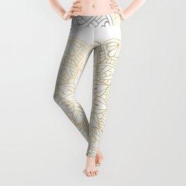 Gold Silver Mandala Pattern Illustration Leggings