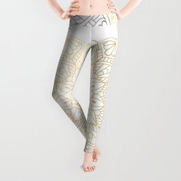 Gold Silver Mandala Pattern Illustration Leggings