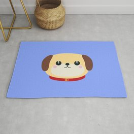 Cute puppy Dog with red collar Rug