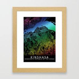 Kinshasa, Democratic Republic of the Congo, City, Map, Rainbow, Map, Art, Print Framed Art Print