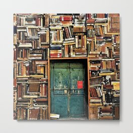 Library with books door entrance Metal Print