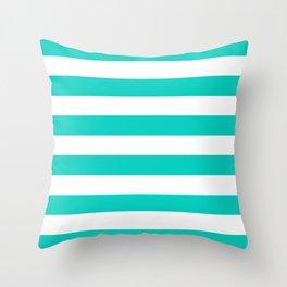 Aqua Horizontal Stripes Pattern Throw Pillow