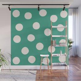Teal Random Polka Dots Wall Mural