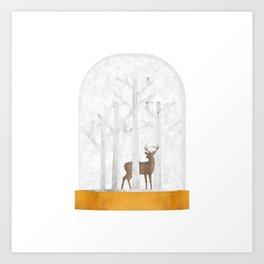 Deer  Snow Ball Art Print