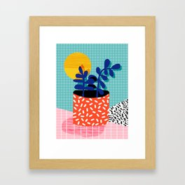 No Way - wacka potted house plant indoor cute hipster neon 1980s style retro throwback minimal pop Framed Art Print