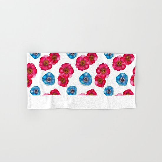 Pink and blue Anemones pattern Hand & Bath Towel