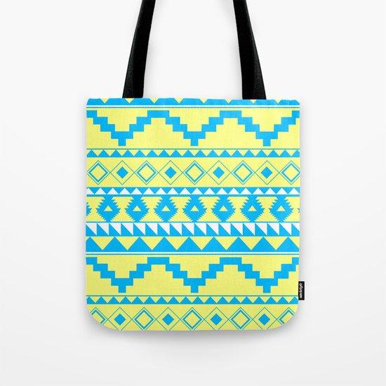 Aztec Pattern 2 Blue & Yellow Tote Bag