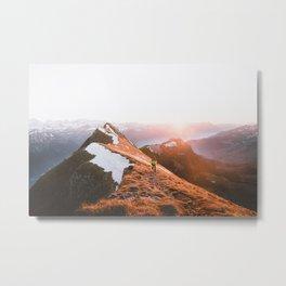 Mountain Hiker Travel Photo Metal Print