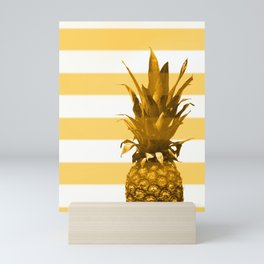 Pineapple with yellow stripes - summer feeling Mini Art Print