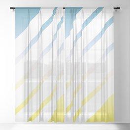 Gradient White Stripes Sheer Curtain