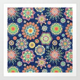 Folky Flora-blue Art Print