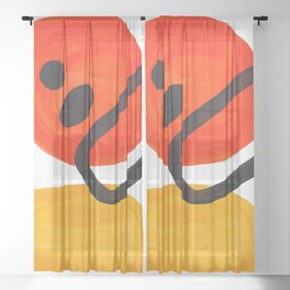 Midcentury Modern Colorful Abstract Pop Art Space Age Fun Bright Orange Yellow Colors Minimalist Sheer Curtain