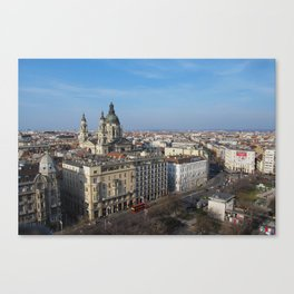 Panoramic view of Budapest and St. Stephen Basilica in Hungary Canvas Print