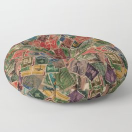Vintage Postage Stamps Collection Floor Pillow