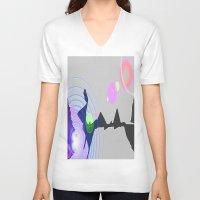 plain V-neck T-shirts featuring Distant Plain by Lior Blum