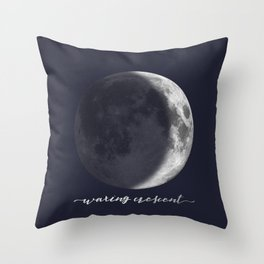 Waxing Crescent Moon on Navy - English Throw Pillow