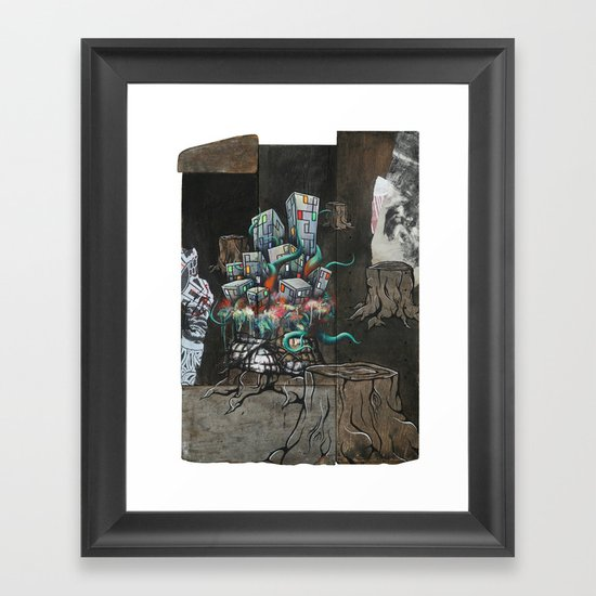 Mending the Stumped Framed Art Print