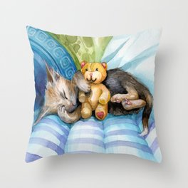 cute kitten sleeping with teddy bear Throw Pillow