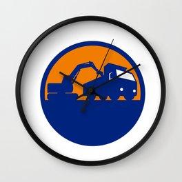 Mechanical Digger Loading Dump Truck Circle Retro Wall Clock