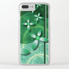 Emerald Fractal Scrapbooking Floral Clear iPhone Case