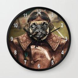 Pete the Pilot Pug Wall Clock