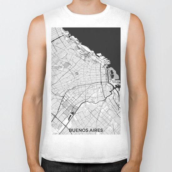 Buenos Aires City Map Gray Biker Tank