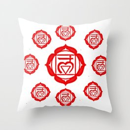 "RED SANSKRIT CHAKRA PSYCHIC WHEEL ""GROUND"" Throw Pillow"