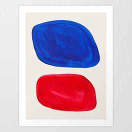Mid Century Modern Retro Minimalist Colorful Shapes Phthalo Blue Red Rothko Pebbles Art Print