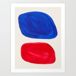 Mid Century Modern Retro Minimalist Colorful Shapes Phthalo Blue Red Rothko Pebbles Art Print