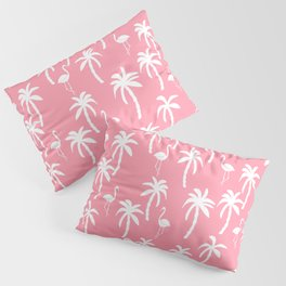 Tropical flamingo and palm trees pattern by andrea lauren cute illustration summer patterns pink Pillow Sham