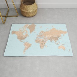 Blue and brown detailed world map with state capitals and more Rug