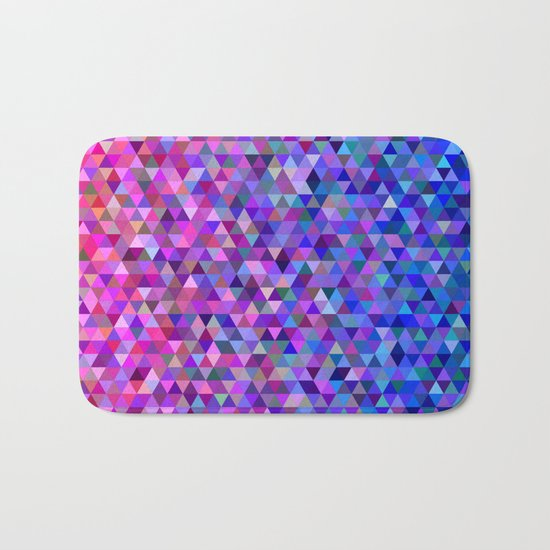 Pink and blue triangles Bath Mat