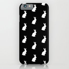 Rabbit Silhouette Pattern (white/black) iPhone Case