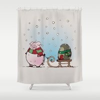 piglet Shower Curtains featuring Winter fun by mangulica