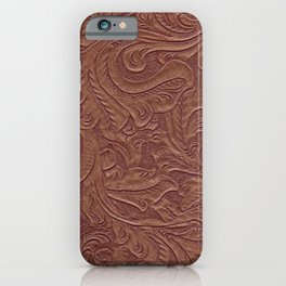 Chocolate Brown Tooled Leather iPhone Case