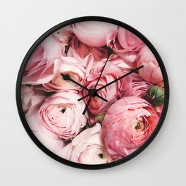 Flowers, Pastel, Plant, Pink, Minimal, Flowers decor, Interior, Wall art Art Wall Clock