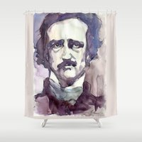 edgar allan poe Shower Curtains featuring Edgar Allan Poe by Germania Marquez